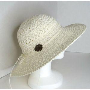 Panama Jack Crocheted Toyo Straw Floppy Hat